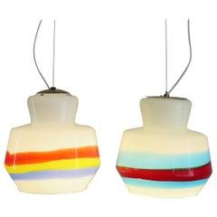 Stilnovo Glass Multi-Color Italian Midcentury Pendant Lamps Set, 1950s