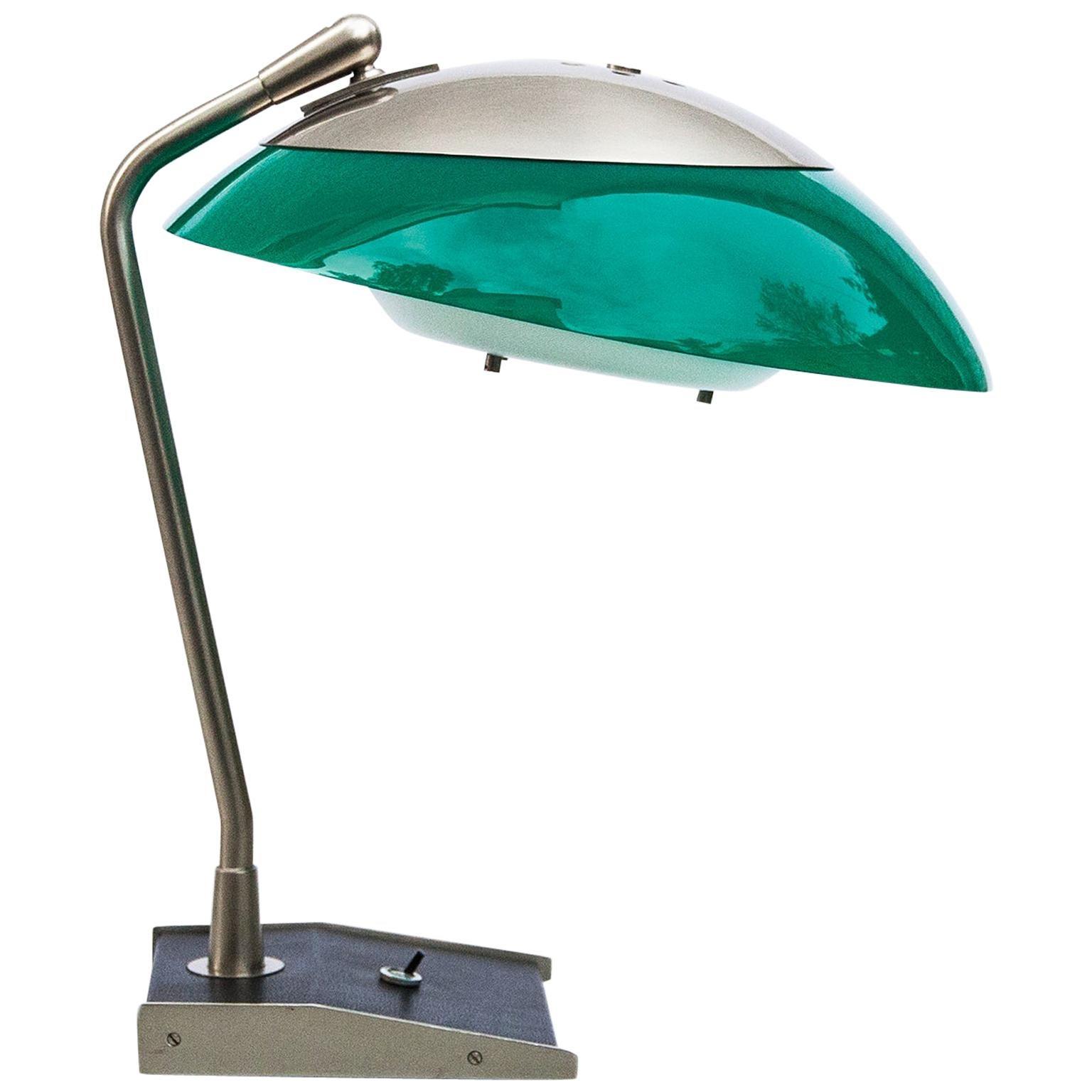 Stilnovo Green Perspex Table Lamp Italy 1960s