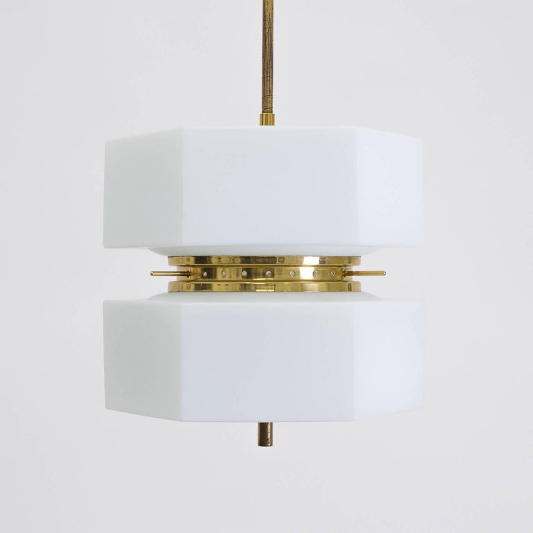 Mid-Century Modern Stilnovo Hexagonal Satin Glass and Brass Pendant, 1950s For Sale