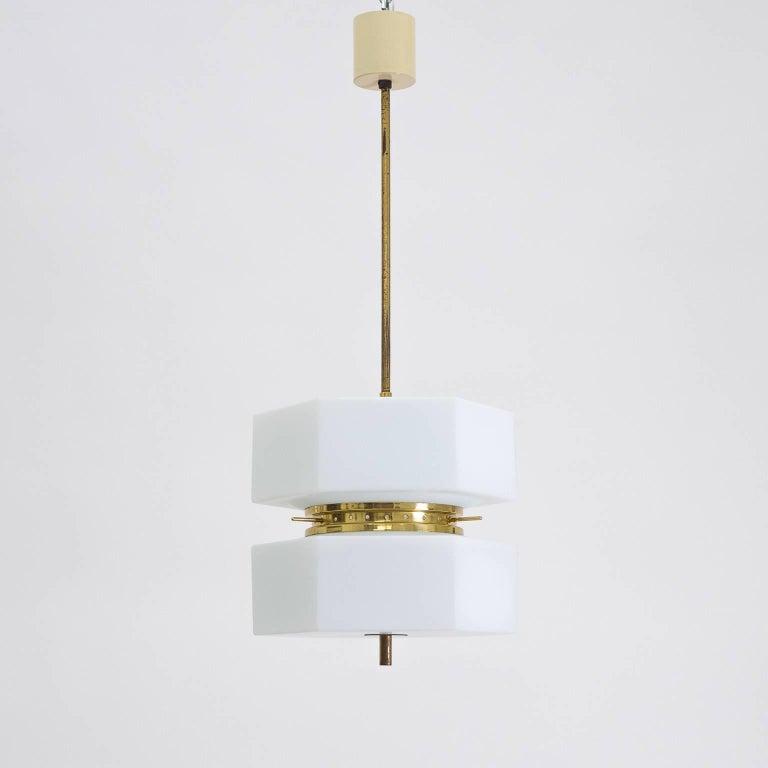 Italian Stilnovo Hexagonal Satin Glass and Brass Pendant, 1950s For Sale