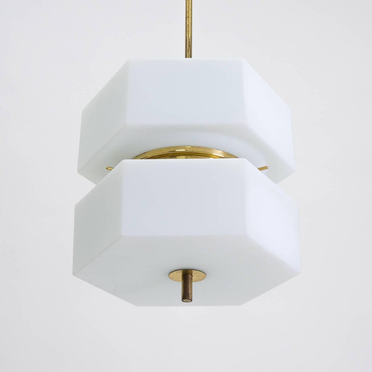 Frosted Stilnovo Hexagonal Satin Glass and Brass Pendant, 1950s For Sale