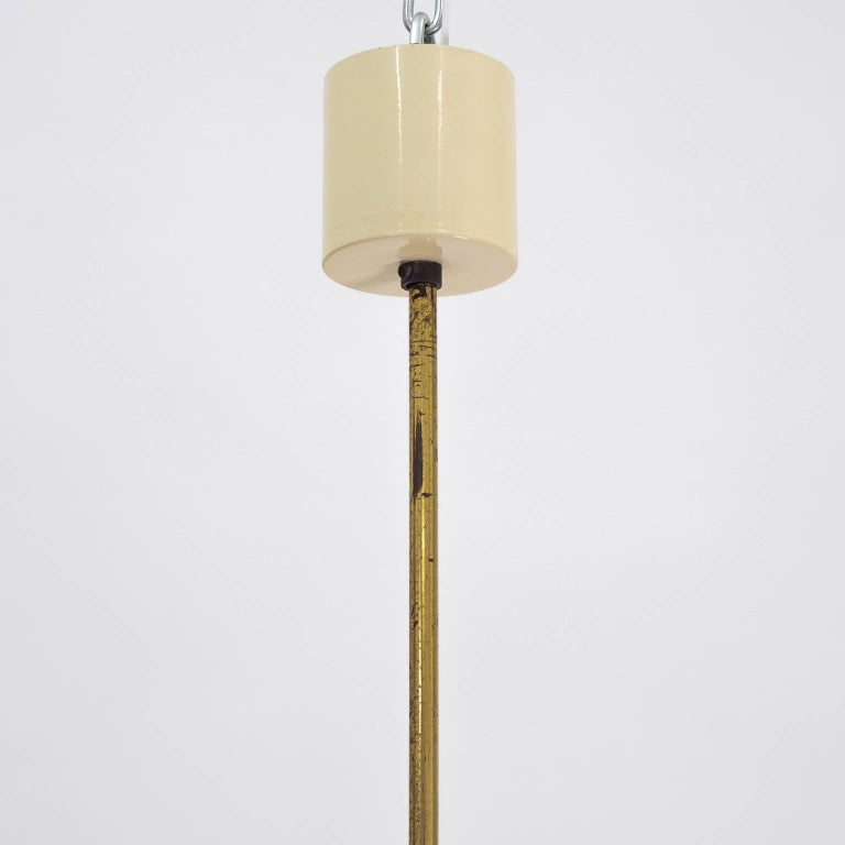 Stilnovo Hexagonal Satin Glass and Brass Pendant, 1950s In Good Condition For Sale In Vienna, AT