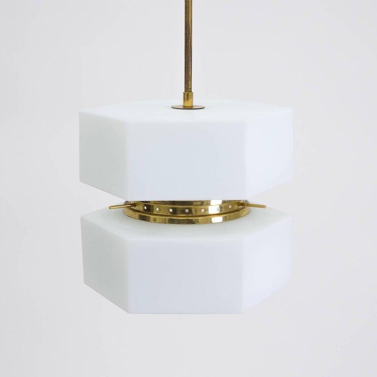 Mid-20th Century Stilnovo Hexagonal Satin Glass and Brass Pendant, 1950s For Sale
