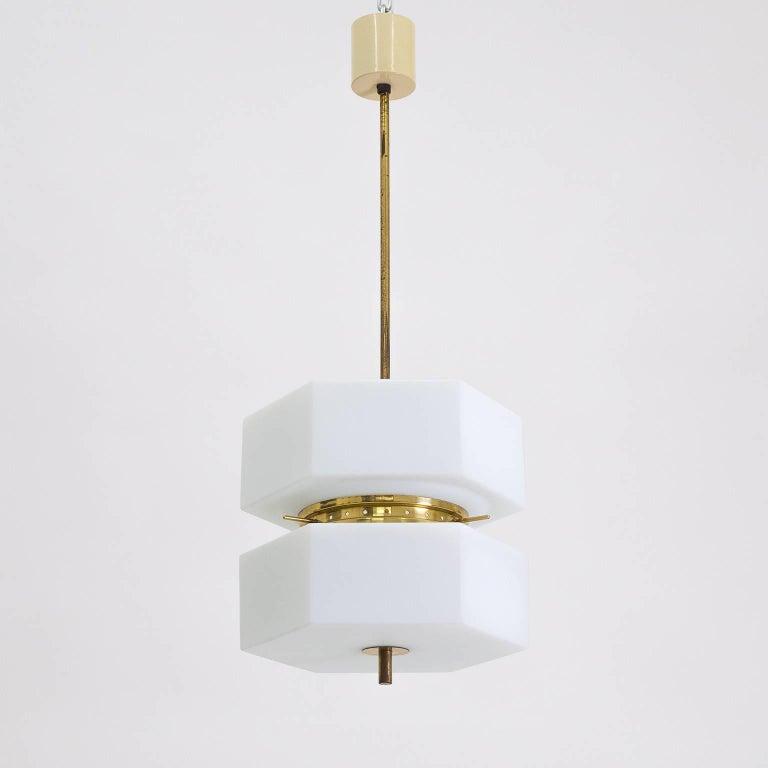 Stilnovo Hexagonal Satin Glass and Brass Pendant, 1950s For Sale 1