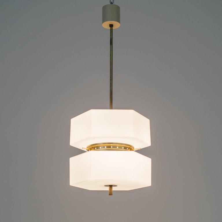 Stilnovo Hexagonal Satin Glass and Brass Pendant, 1950s For Sale 2