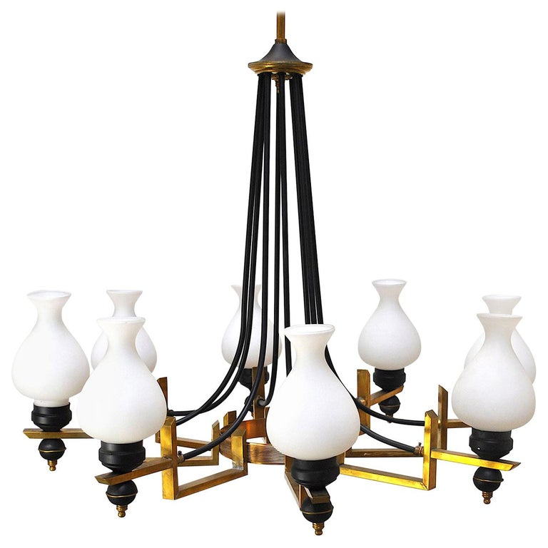 Stilnovo in the Manner Italian Century Chandelier in Brass and Opaline For Sale