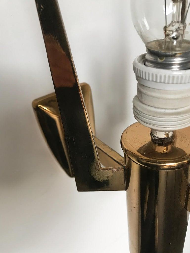 Stilnovo Italian Brass Glass Sconce Wall Lamp, 1950s For Sale 5