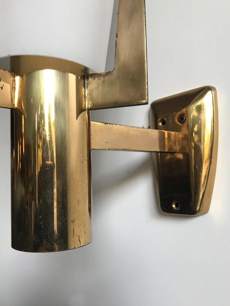 Stilnovo Italian Brass Glass Sconce Wall Lamp, 1950s For Sale 4