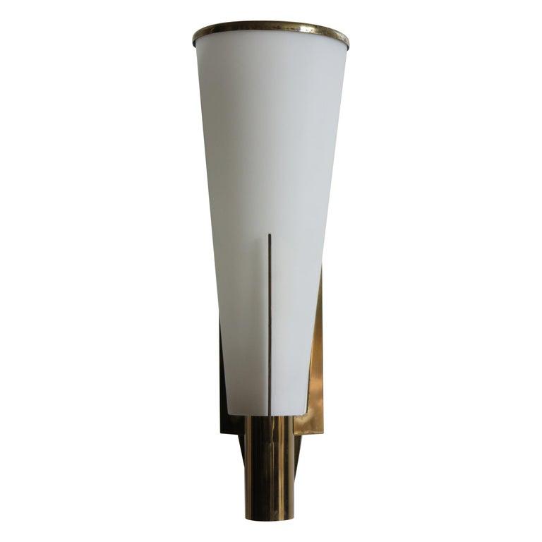 Stilnovo Italian Brass Glass Sconce Wall Lamp, 1950s For Sale