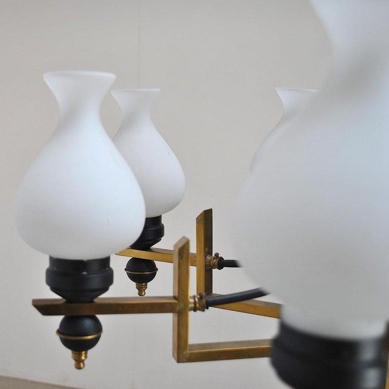 Stilnovo in the Manner Italian Century Chandelier in Brass and Opaline For Sale 5