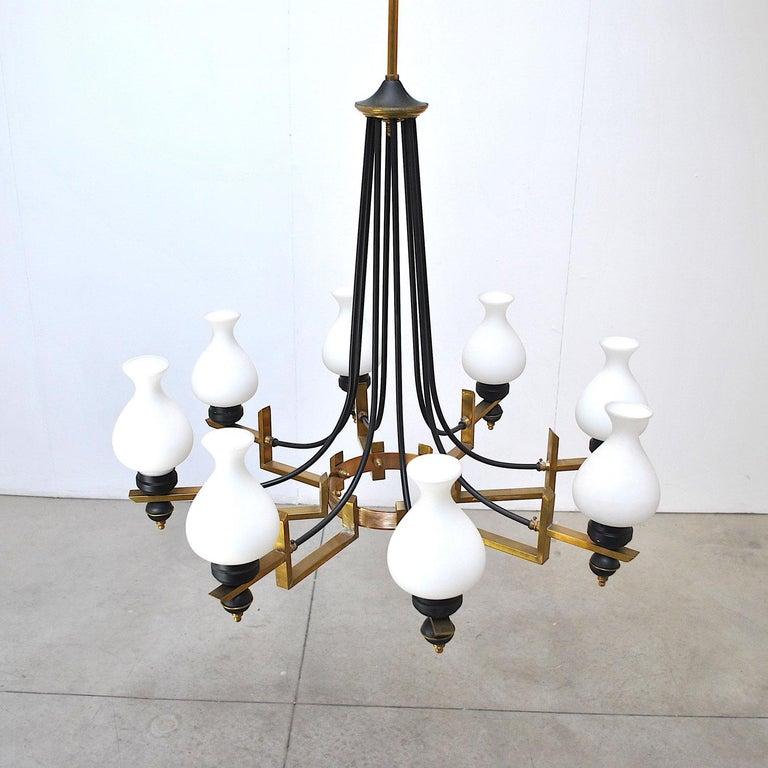 Mid-20th Century Stilnovo in the Manner Italian Century Chandelier in Brass and Opaline For Sale