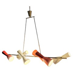 Stilnovo Italian Chandelier 1950s in Brass and Aluminum Enameled Red and Cream