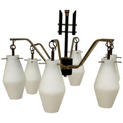 Italian Chandelier, Opaline Glass, Brass, 6 Lighting Arms, attrib to Stilnovo
