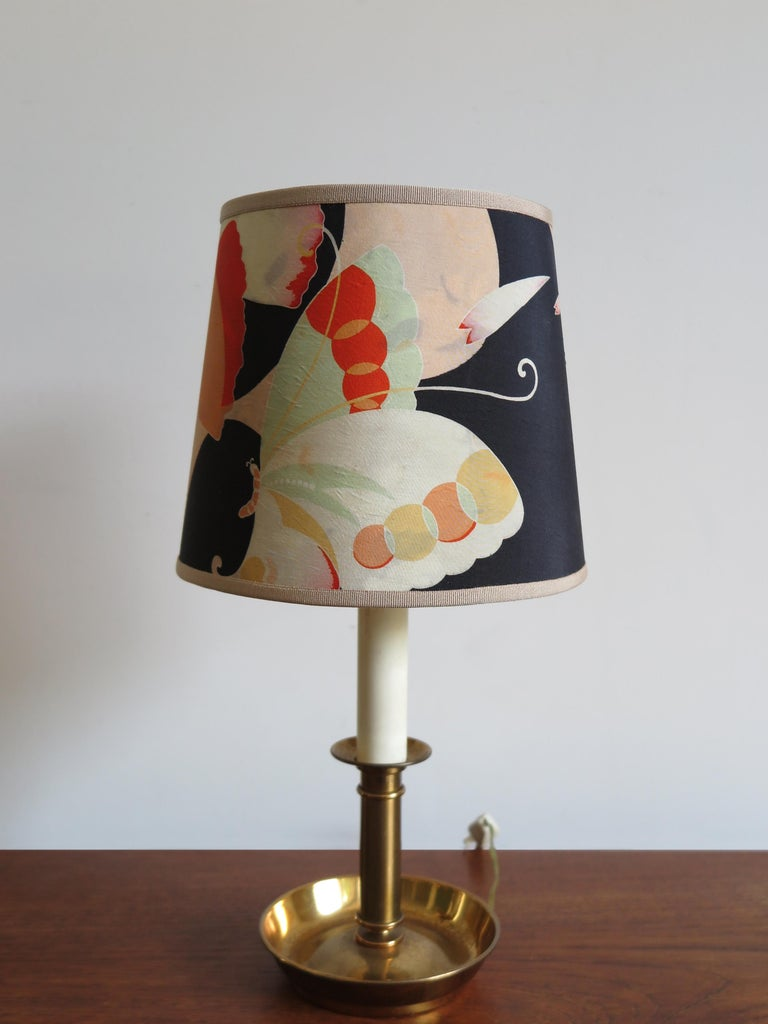 Lacquered Stilnovo Italian Lampshades or Table Lamps with Old Kimono, 1960s For Sale