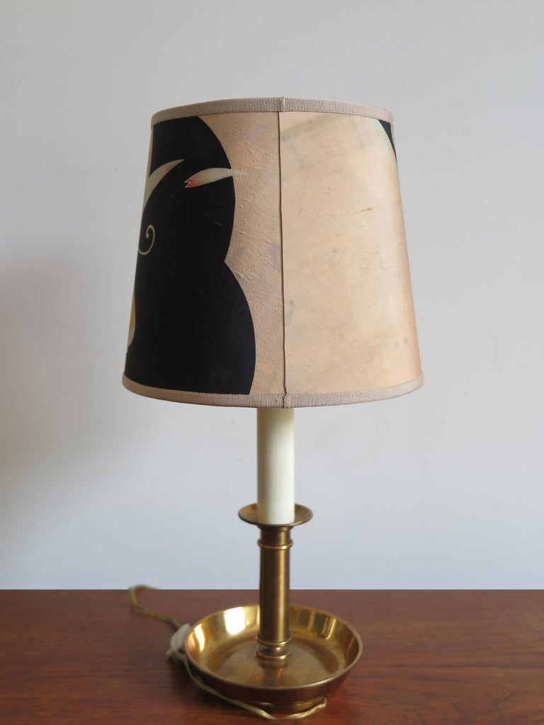 Brass Stilnovo Italian Lampshades or Table Lamps with Old Kimono, 1960s For Sale