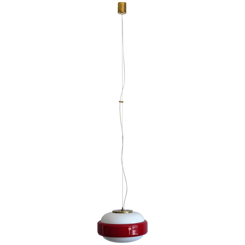 Stilnovo Italian Mid-Century Modern Brass and Glass Red Pendant Lamp, 1960s