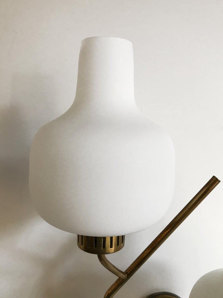 Stilnovo Italian Midcentury Big Brass Glass Sconces Wall Lamp, 1950s For Sale 6