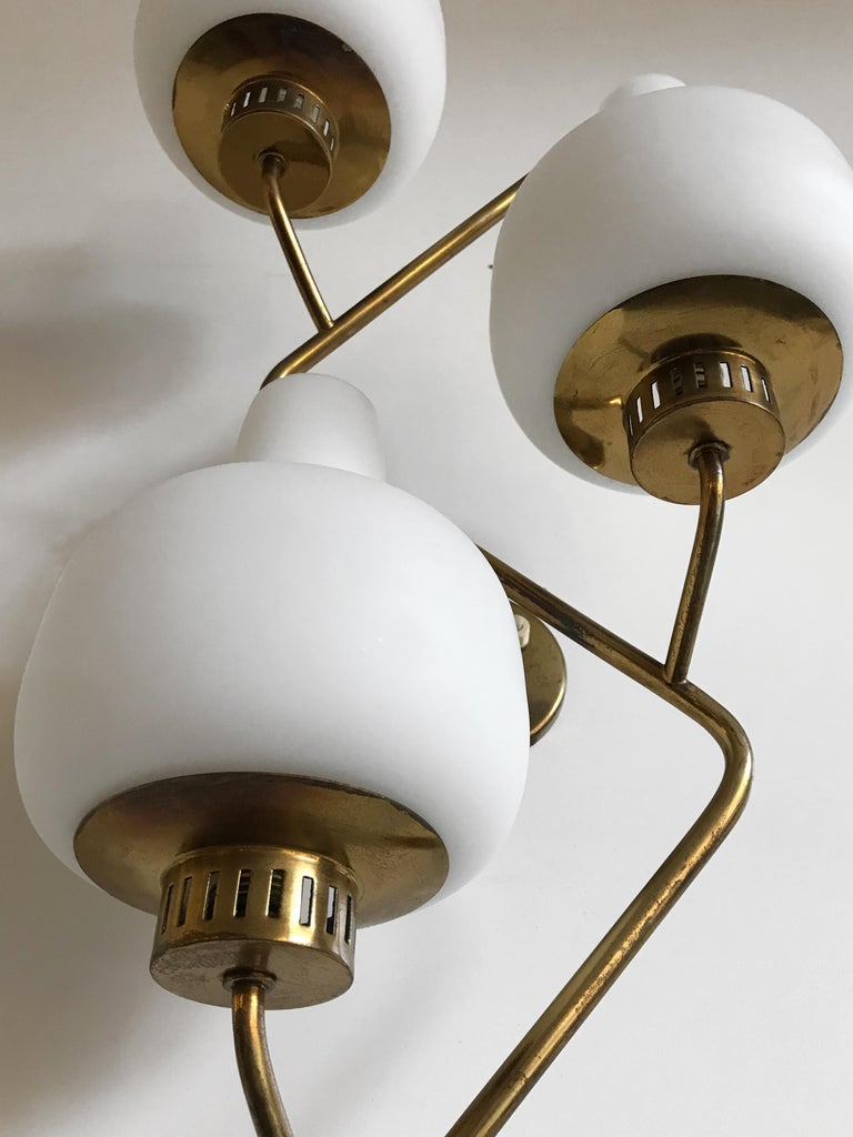 Stilnovo Italian Midcentury Big Brass Glass Sconces Wall Lamp, 1950s For Sale 8