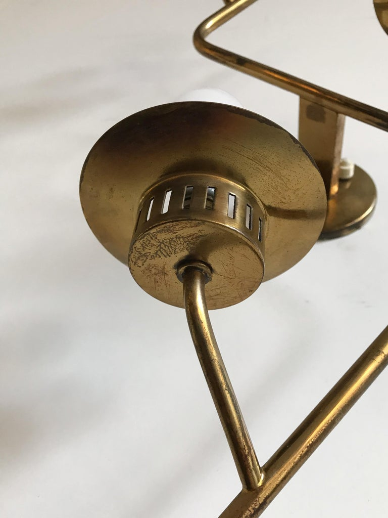 Stilnovo Italian Midcentury Big Brass Glass Sconces Wall Lamp, 1950s For Sale 12