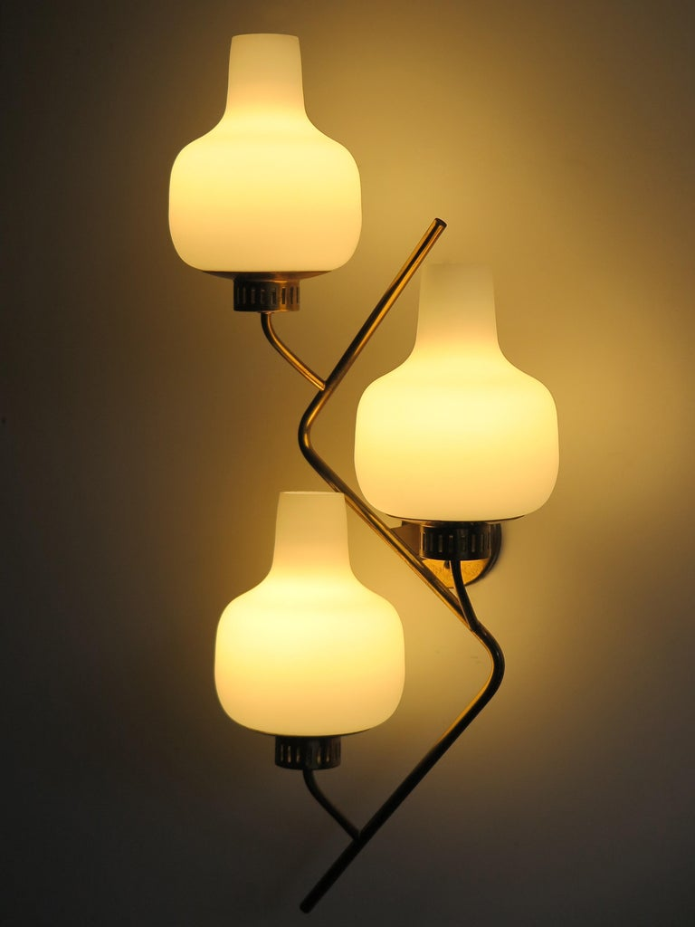 Mid-20th Century Stilnovo Italian Midcentury Big Brass Glass Sconces Wall Lamp, 1950s For Sale