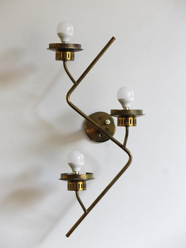 Stilnovo Italian Midcentury Big Brass Glass Sconces Wall Lamp, 1950s For Sale 2