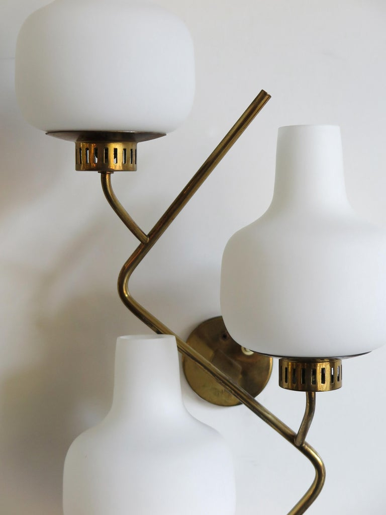 Stilnovo Italian Midcentury Big Brass Glass Sconces Wall Lamp, 1950s For Sale 3