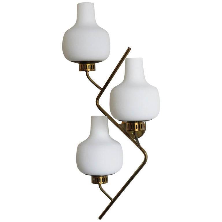 Stilnovo Italian Midcentury Big Brass Glass Sconces Wall Lamp, 1950s For Sale