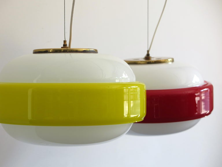 Stilnovo Italian Mid-Century Modern Brass and Glass Pendant Lamps, 1960s In Good Condition For Sale In Modena, IT