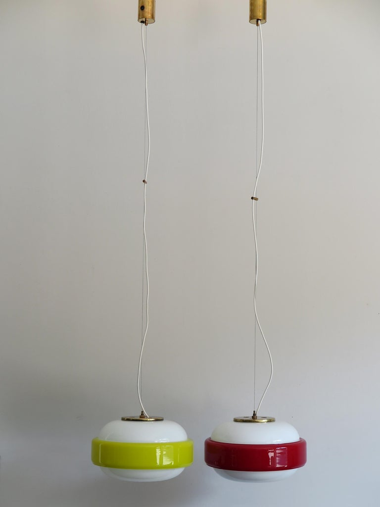 Mid-20th Century Stilnovo Italian Mid-Century Modern Brass and Glass Pendant Lamps, 1960s For Sale