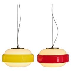 Stilnovo Italian Mid-Century Modern Brass and Glass Pendant Lamps, 1960s