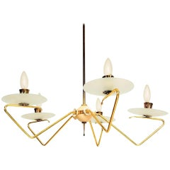 Stilnovo Italian Modern Five-Arm Italian Chandelier Brass and Glass