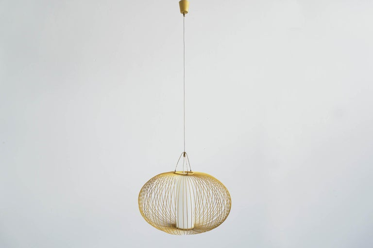 Beautiful hangin lamp with Japanese inspiration by Stilnovo.  Dimension of the shade diameter 50 cm HT will be adjustable.