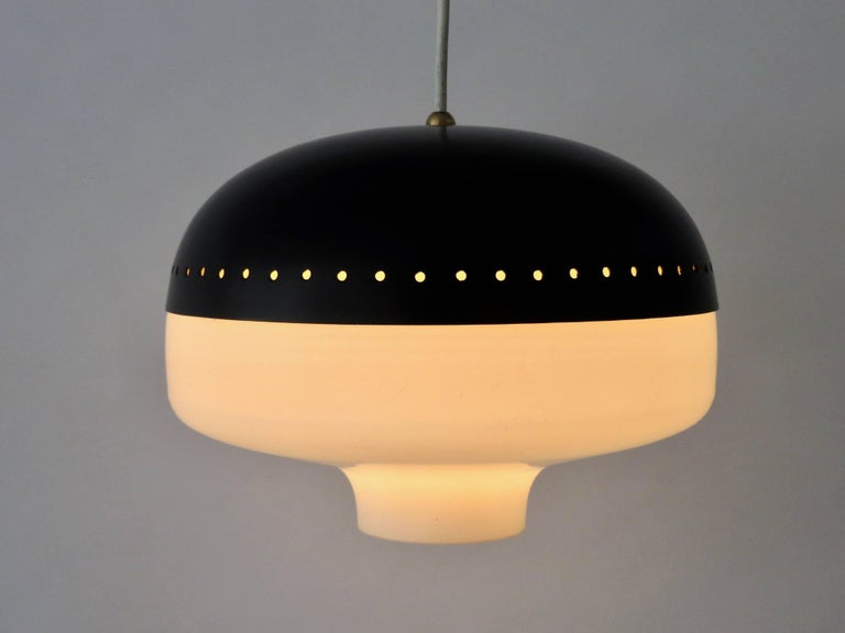 Mid-20th Century Stilnovo Italian Pendant Light Fixture Brushed Satin Opaque Glass Diffuser For Sale