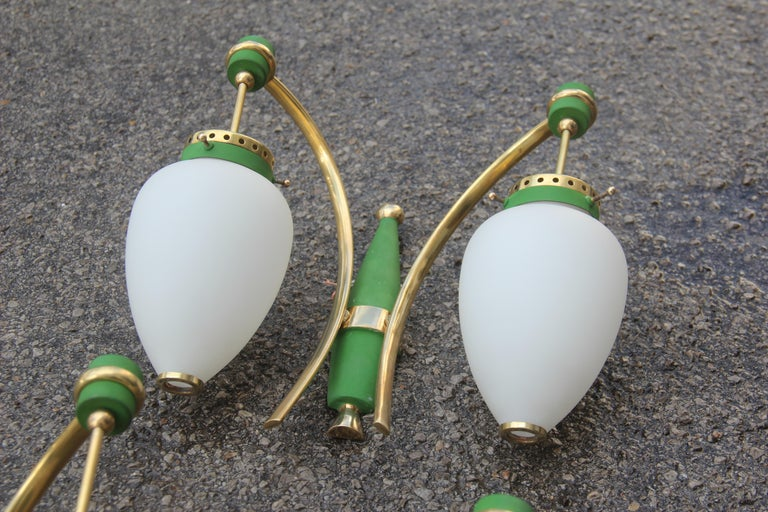 Stilnovo Style White Glass Green and Golden Brass Italian Sconces, 1958 For Sale 7