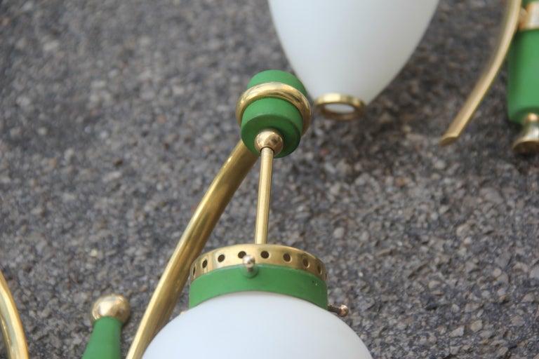 Stilnovo Style White Glass Green and Golden Brass Italian Sconces, 1958 For Sale 8