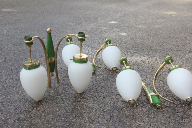 Stilnovo Style White Glass Green and Golden Brass Italian Sconces, 1958 For Sale 10