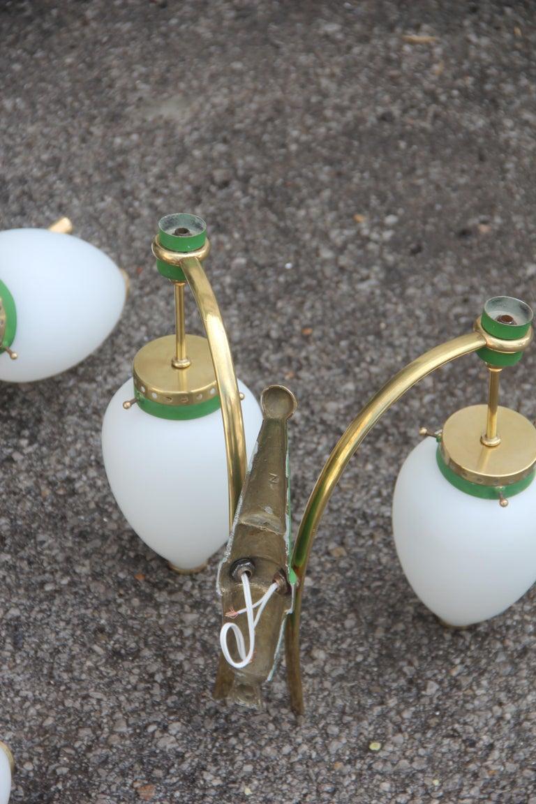 Stilnovo Style White Glass Green and Golden Brass Italian Sconces, 1958 For Sale 11