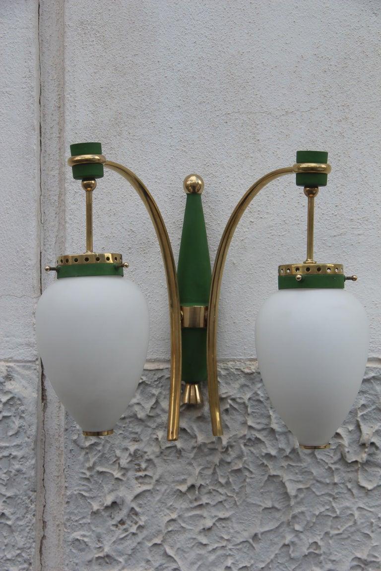Mid-Century Modern Stilnovo Style White Glass Green and Golden Brass Italian Sconces, 1958 For Sale