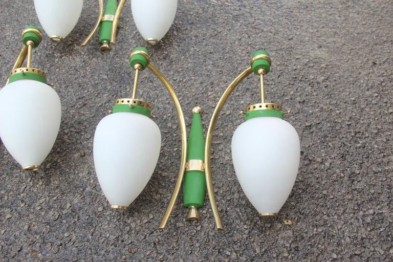 Stilnovo Style White Glass Green and Golden Brass Italian Sconces, 1958 For Sale 1