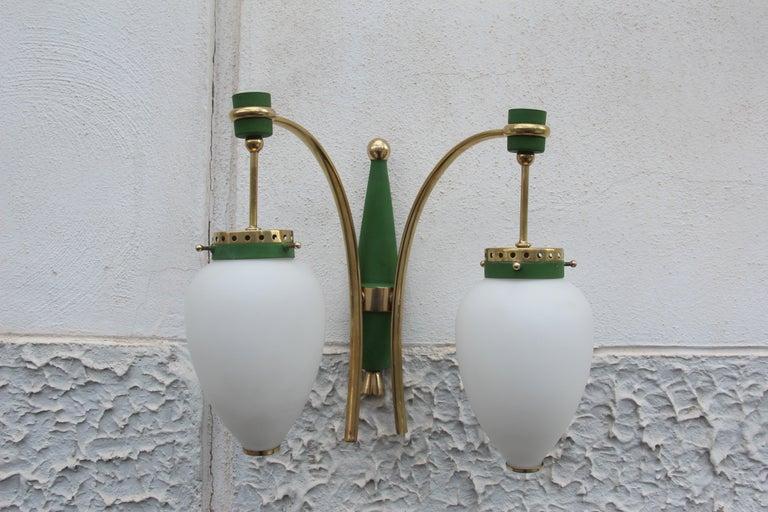 Stilnovo Style White Glass Green and Golden Brass Italian Sconces, 1958 For Sale 2