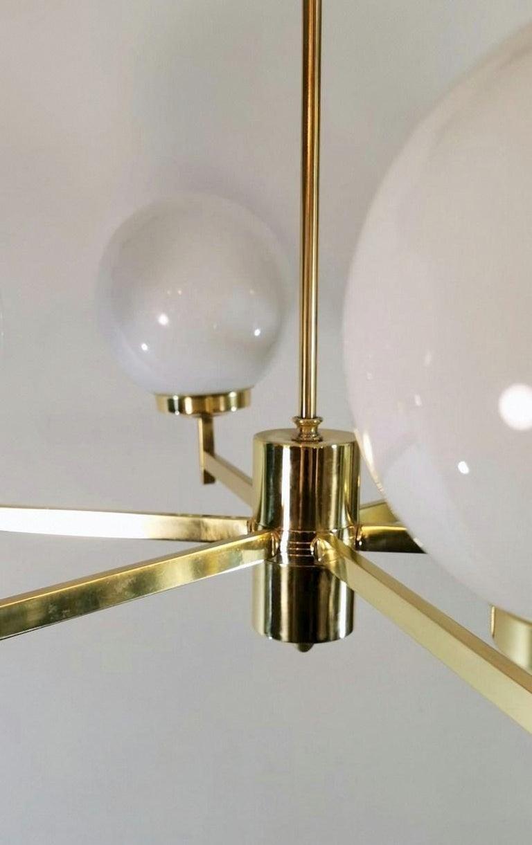 Stilnovo Italian Vintage Brass Chandelier, Opaline Glass Spheres For Sale 4