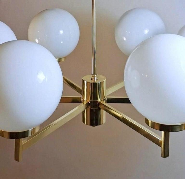 Stilnovo Italian Vintage Brass Chandelier, Opaline Glass Spheres For Sale 6