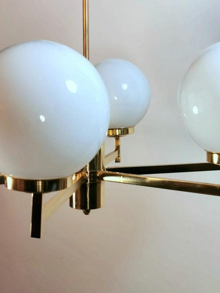 Stilnovo Italian Vintage Brass Chandelier, Opaline Glass Spheres For Sale 8