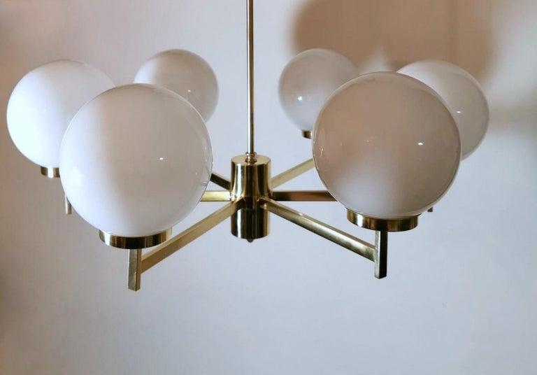 Stilnovo Italian Vintage Brass Chandelier, Opaline Glass Spheres For Sale 9