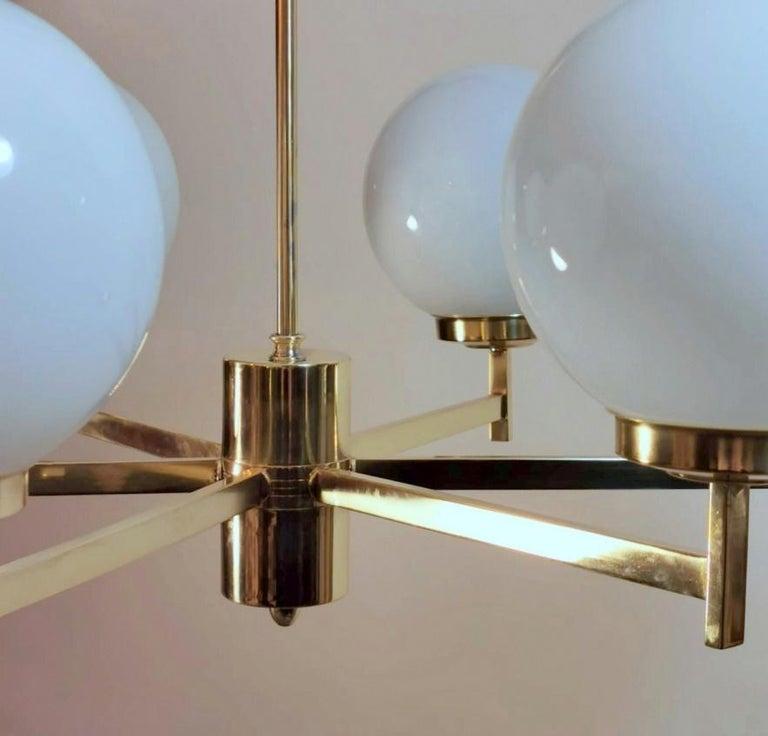Stilnovo Italian Vintage Brass Chandelier, Opaline Glass Spheres For Sale 10