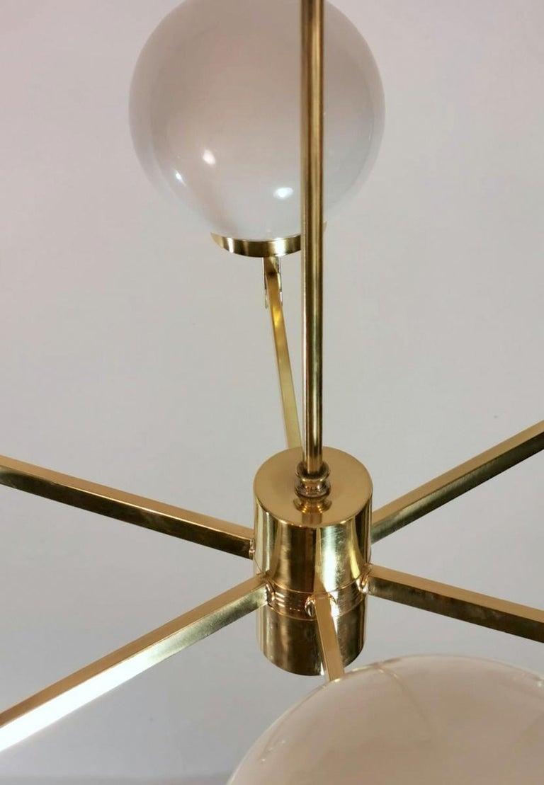 Stilnovo Italian Vintage Brass Chandelier, Opaline Glass Spheres For Sale 11