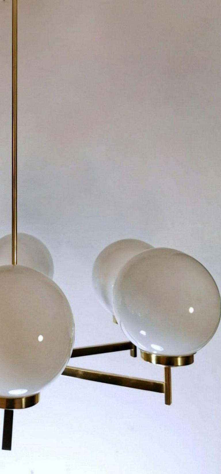 Stilnovo Italian Vintage Brass Chandelier, Opaline Glass Spheres For Sale 12
