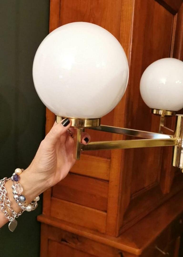 Stilnovo Italian Vintage Brass Chandelier, Opaline Glass Spheres For Sale 14