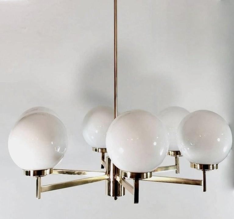 Polished Stilnovo Italian Vintage Brass Chandelier, Opaline Glass Spheres For Sale