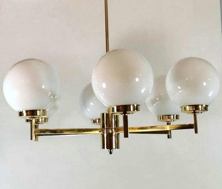 20th Century Stilnovo Italian Vintage Brass Chandelier, Opaline Glass Spheres For Sale